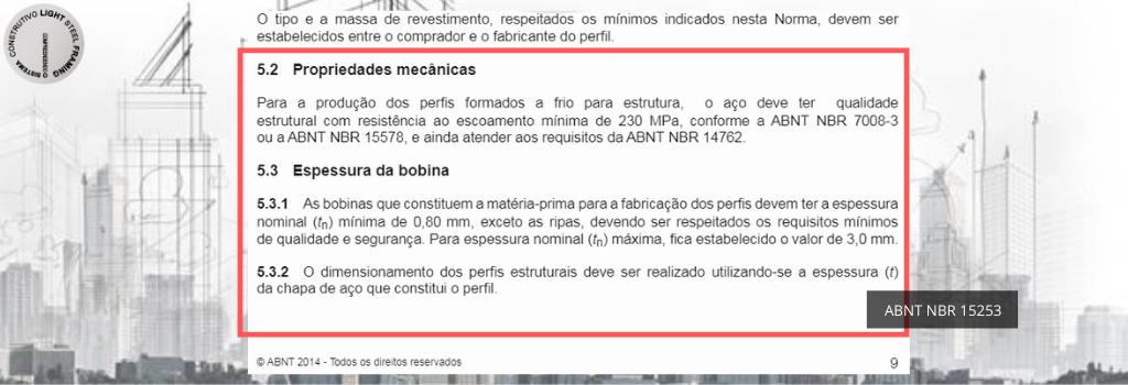 Propriedades mecânicas de acordo com a ABNT NBR 15253